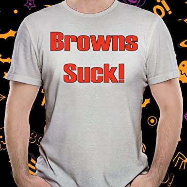 3bd6a629 Cleveland Browns Suck Tee Football Shirt Funny Gray tshirt (Large ...