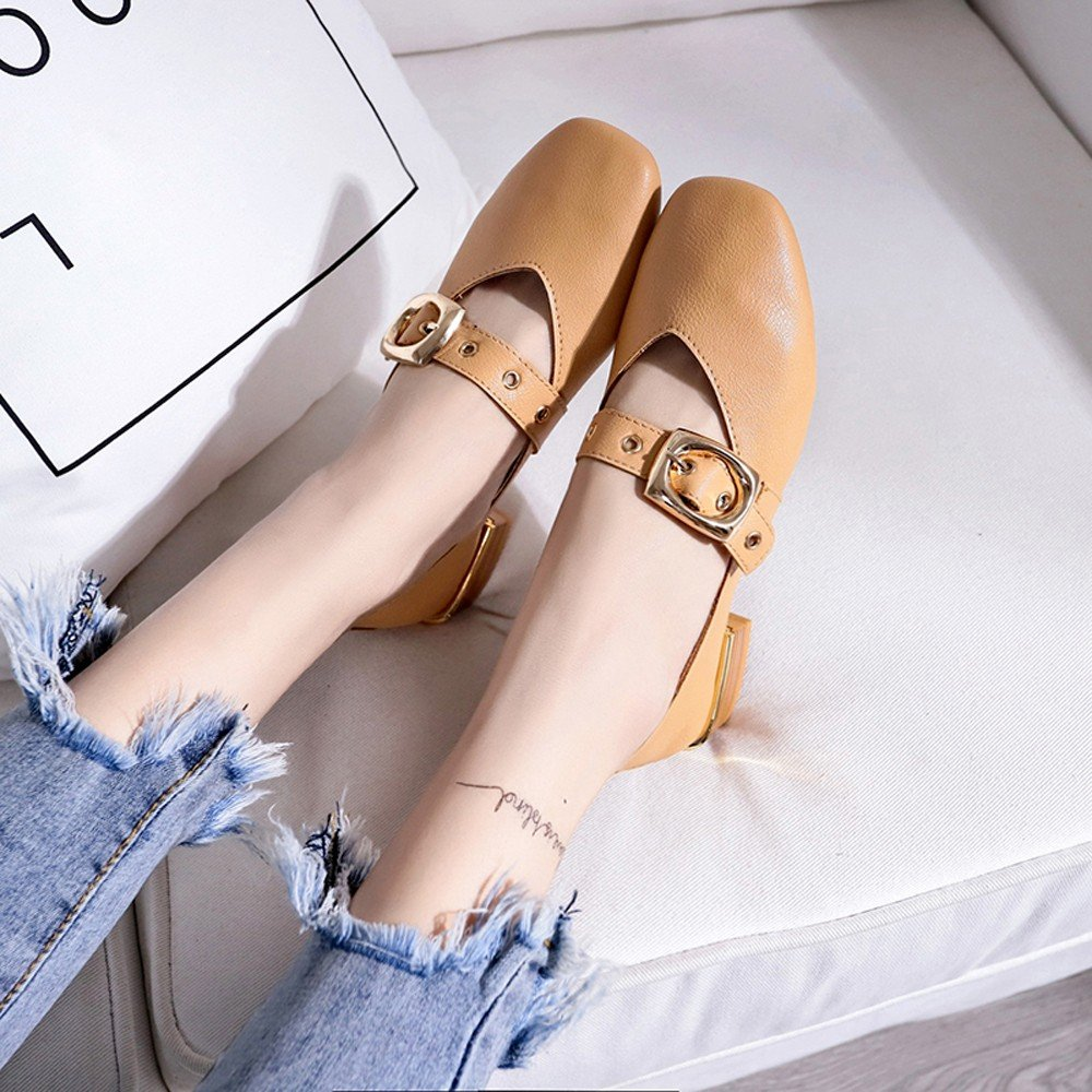 Clearance Sale Shoes For Women,Farjing Fashion Women British Single Shoes Shallow Mouth Small Shoes Mid Heel Shoes(US:6.5,Khaki)
