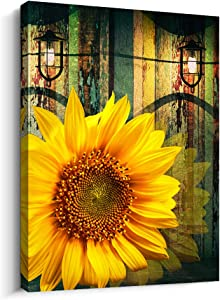 Fashion Canvas Wall Art For Bedroom Modern Office Decorations 1 Piece Framed Canvas Prints Artwork Bathroom Wall Decor Abstract Pictures Yellow Sunflower Flower Wall Paintings Kitchen Home Decoration