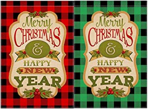 2 Packs Merry Christmas Garden Flag Double Sided Happy New Year Garden Flag Buffalo Plaid Outdoor Christmas Decorations Yard Flags 12.5 X 18 Inch Home Decorative Burlap Christmas Decorations