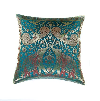 Narphosit India Style Elephant Peacock Throw Pillow Cover Decorative Sofa Couch Cushion Cover Zippered 16x16 Inch 40x40 Cm Green
