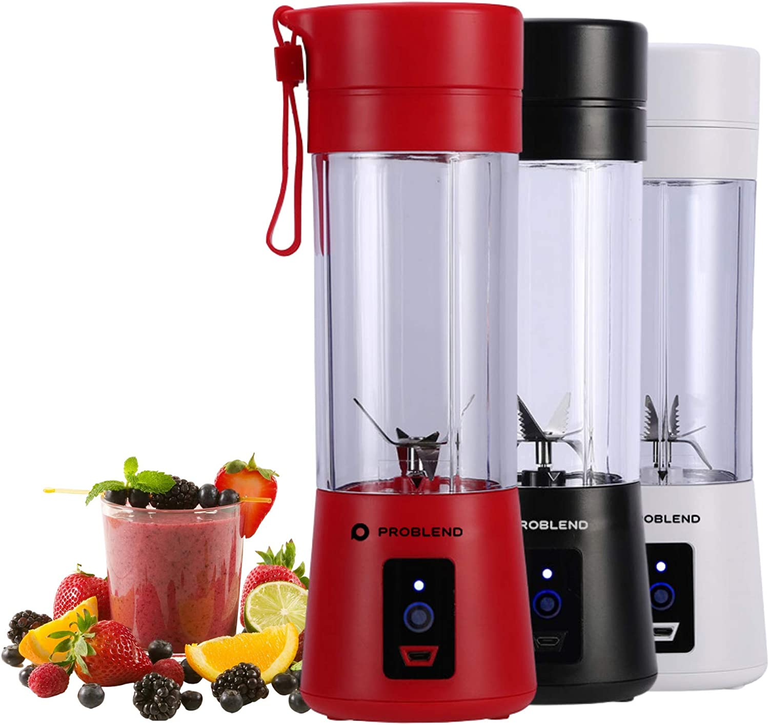 Problend Portable Blender, Personal Sized Blender For Smoothies and Shakes, Electric Mini Juicer Cup 13oz / 380ml USB Rechargeable, BPA Free, Six 3D Blades For Great Blending (Red)