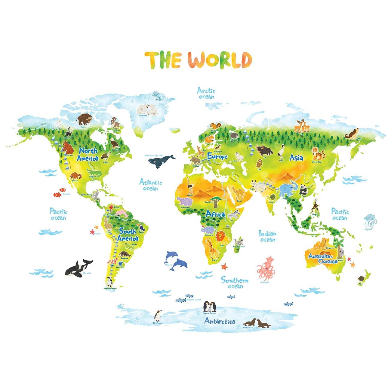 Decowall DMT-1715S Geologica Mappa del Mondo Animali Adesivi da Parete Decorazioni Parete Stickers Murali Soggiorno Asilo Nido Camera da Letto per Bambini (Grande) (Ver. Inglese)