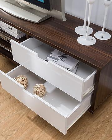 Smart home 151359 Entertainment Console TV Stand 70 Inch, Dark Walnut Glossy White