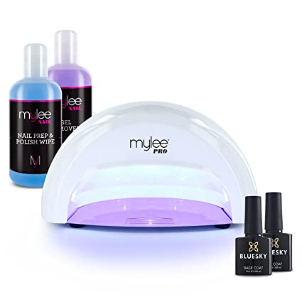 Mylee 15 Seconds Cure Convex Curing® Led Gel Polish Nail Drying Lamp Kit, 3 Curing Cycles, Compatible With All Gel Polish, Kit Incl. Bluesky Top & Base Coat, Mylee Prep + Wipe, Gel Remover (White) by Mylee