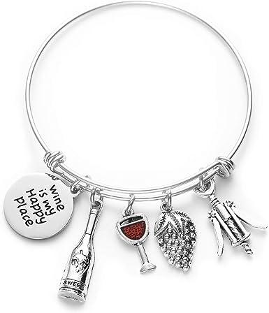 Wine Themed Bangle Bracelet-My Happy Place Wine Charm Jewelry