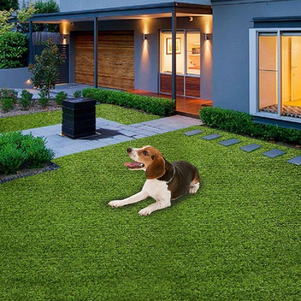 Home Cal Artificial Grass Rug Series Landscape Outdoor Decorative Synthetic Turf Pet Dog Area with Neat Edge 3cm 6'x10' Spring Grass by Home Cal