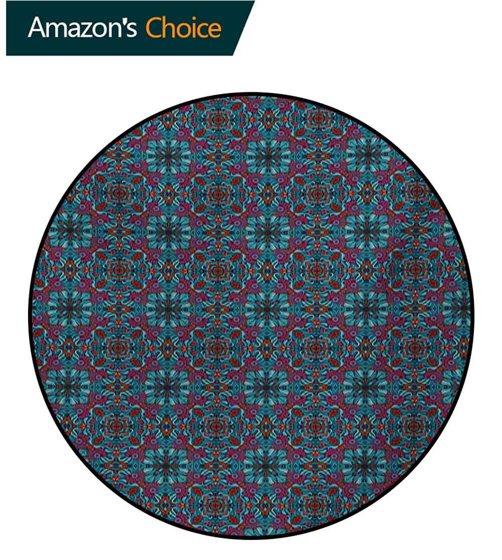 RUGSMAT Ethnic Non-Slip Area Rug Pad Round,Abstract Ornamental Swirls and Curves Pattern with Foliage Leaves and Flowers Desgin Protect Floors While Securing Rug Making Vacuuming,Diameter-51 Inch