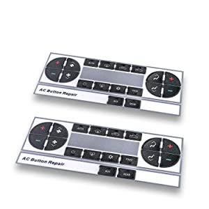 (Upgraded Plastic) AC Dash Button Repair Kit, Control & Radio Button Replacement Decal Stickers - Fix Worn or Paint off Buttons - Fit for Chevy Silverado,Tahoe,Traverse, Suburban,GMC Acadia, Yukon