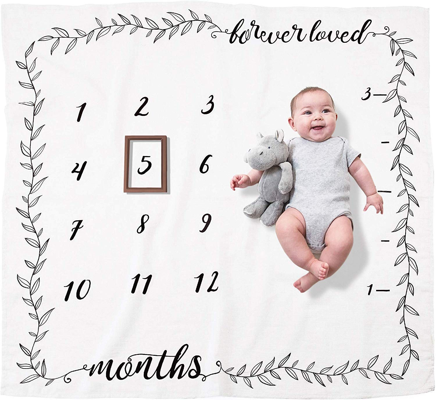 Pondering Pine Organic Baby Monthly Milestone Blanket (Forever Loved) for Newborn Girl or Boy | Soft Photography Background Prop | 1 to 12 Months by Pondering Pine