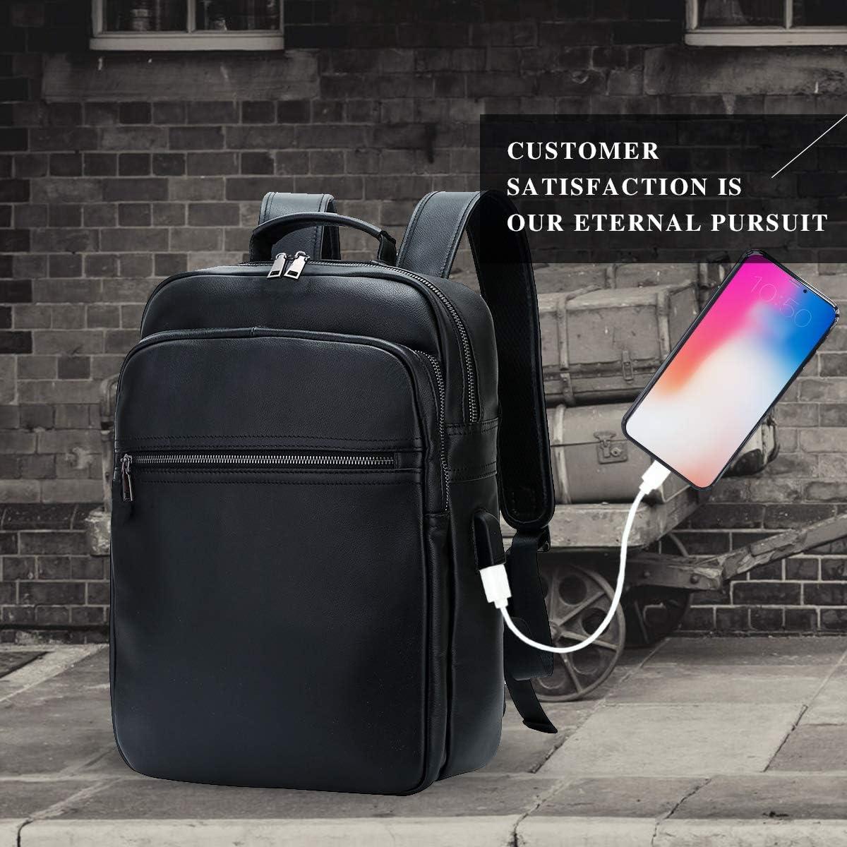 Leathario Zaino in Pelle Vera da Uomo Zaino Porta PC per Uso Quotidiano Lavoro Universit/à Casual Viaggio Grande Capacit/à alla Moda Elegante
