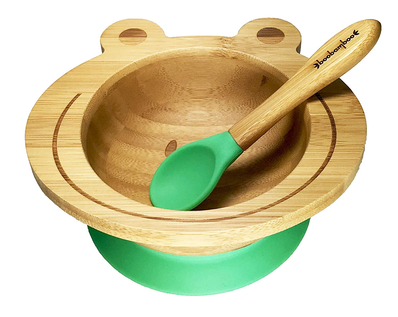 Bol d'aspiration Boobamboo avec système de maintien ingénieux, pour une prise en main facile, fait de bambou naturel et de silicone de qualité alimentaire (Vert) fait de bambou naturel et de silicone de qualité alimentaire (Vert)