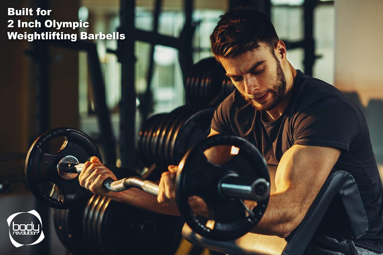 """Body Revolution Trois Prise Olympique halt/ères 1.25kg kg - 25kg Jeu Noir Caoutchouc Radial Fonte DISQUES pour 2/"""" 50mm barbel/és"""