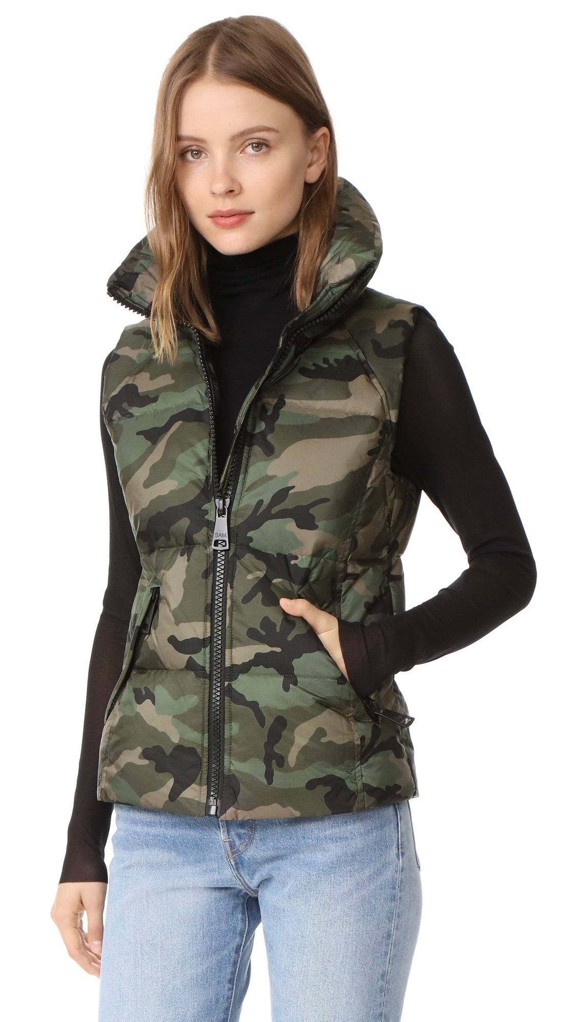 SAM. Women's Camo Freedom Vest, Olive, Medium