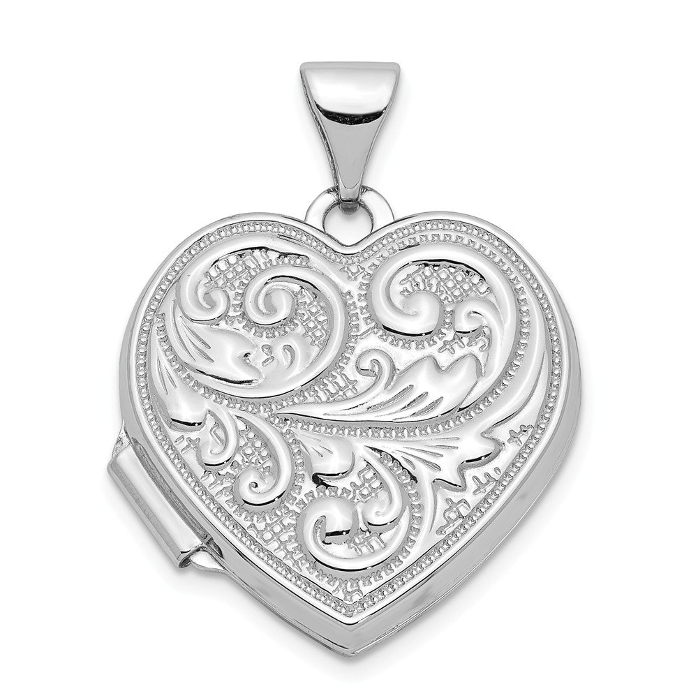 14k White Gold Scrolled Love You Always Heart Photo Pendant Charm Locket Chain Necklace That Holds Pictures Fine Jewelry Gifts For Women For Her by ICE CARATS