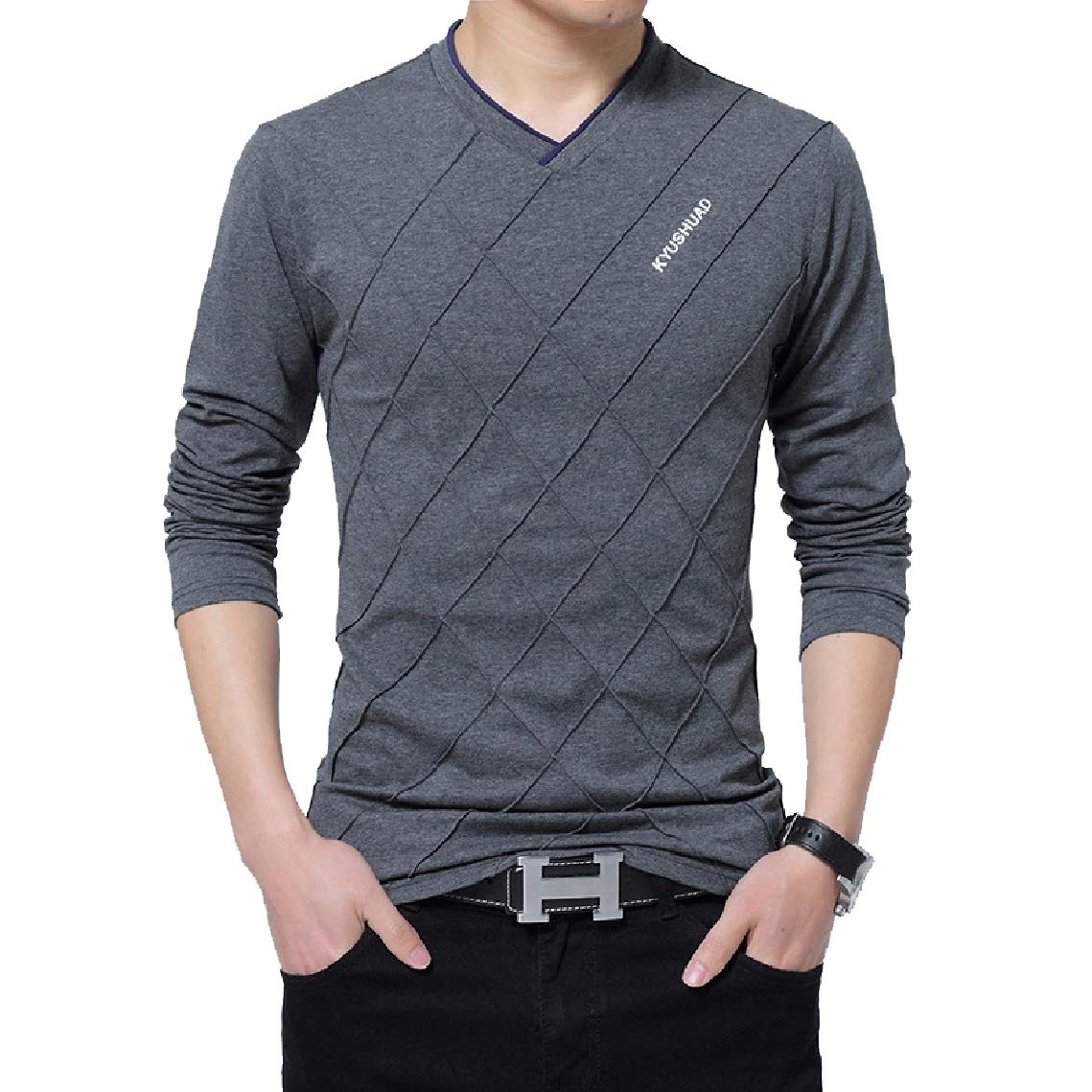 Freely Mens Long Sleeves Printing Solid-Colored Over Sized V Neck Tee Tshirt