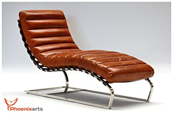 Phoenixarts Chaise Echtleder Vintage Leder Relaxliege Braun Design Recamiere Liege Sessel Chaiselongue Ledersessel 536