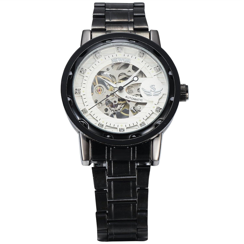 Seworメンズクラシックカジュアルスタイル中空スケルトンhand-winding Mechanical Wrist Watch with Diamonds装飾 2# B071YDZTMZ2#
