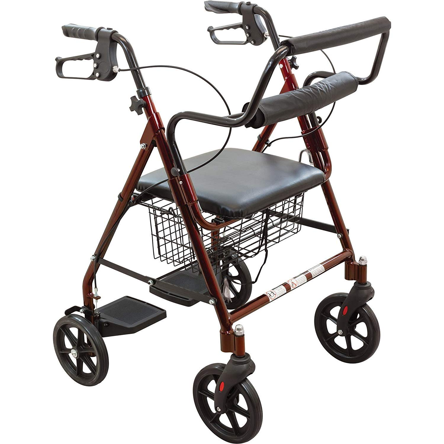 ProBasics Aluminum Rollator Walker with Seat - Rolling Walker with 6-inch Wheels - Foldable - Padded Seat and Backrest, Height Adjustable Handles, 300 Pound Weight Capacity, Burgundy by Roscoe Medical