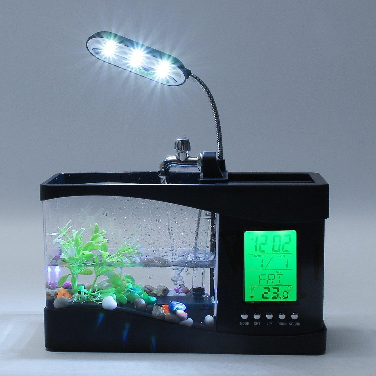 TKSTAR-tanque de peces multifuncional, USB de escritorio, acuario, mini pecera con agua corriente, LCD reloj despertador, colorido LED lámpara luz ...