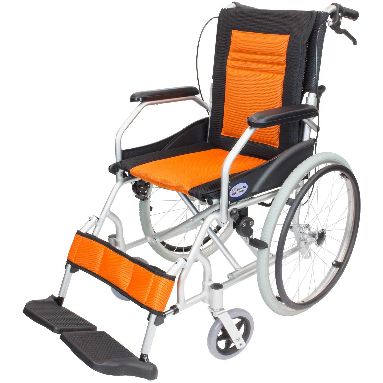ケアテックジャパン 軽量 自走式アルミ製車椅子 CA-12SU ハピネスライト (オレンジ) B01MR8XRNV オレンジ オレンジ