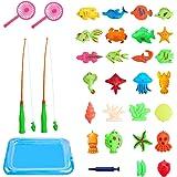 Angelspiel Wasserspiel, 30 Stück Badewannenspielzeug Lernspiel für Kinder Baby, Badespaß Fische Angeln Spielzeug Geschenkset