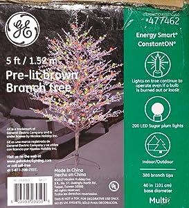 GE 5ft Pre-lit Brown Branch Tree Winterberry Designer Series