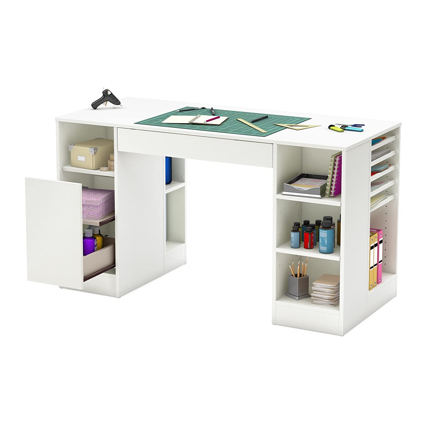 Amazon com  South Shore Crea Collection Craft Table  White  Kitchen   Dining. Amazon com  South Shore Crea Collection Craft Table  White