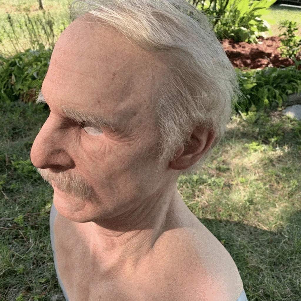 The Elder Old Man Headgear for Masquerade Halloween Realistic Headgear Decor,Human Wrinkle Scary Hat Man-A Realistic Latex Old Man Mask Male Disguise Halloween Fancy Dress Head Masks