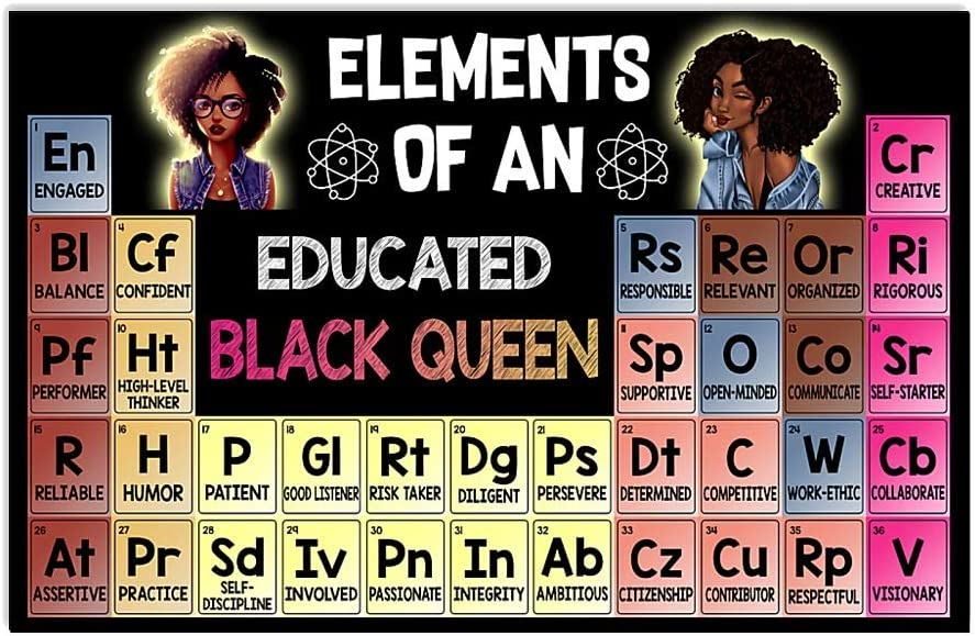 HolyShirts Elements of an Educated Black Queen Poster (24 inches x 36 inches)