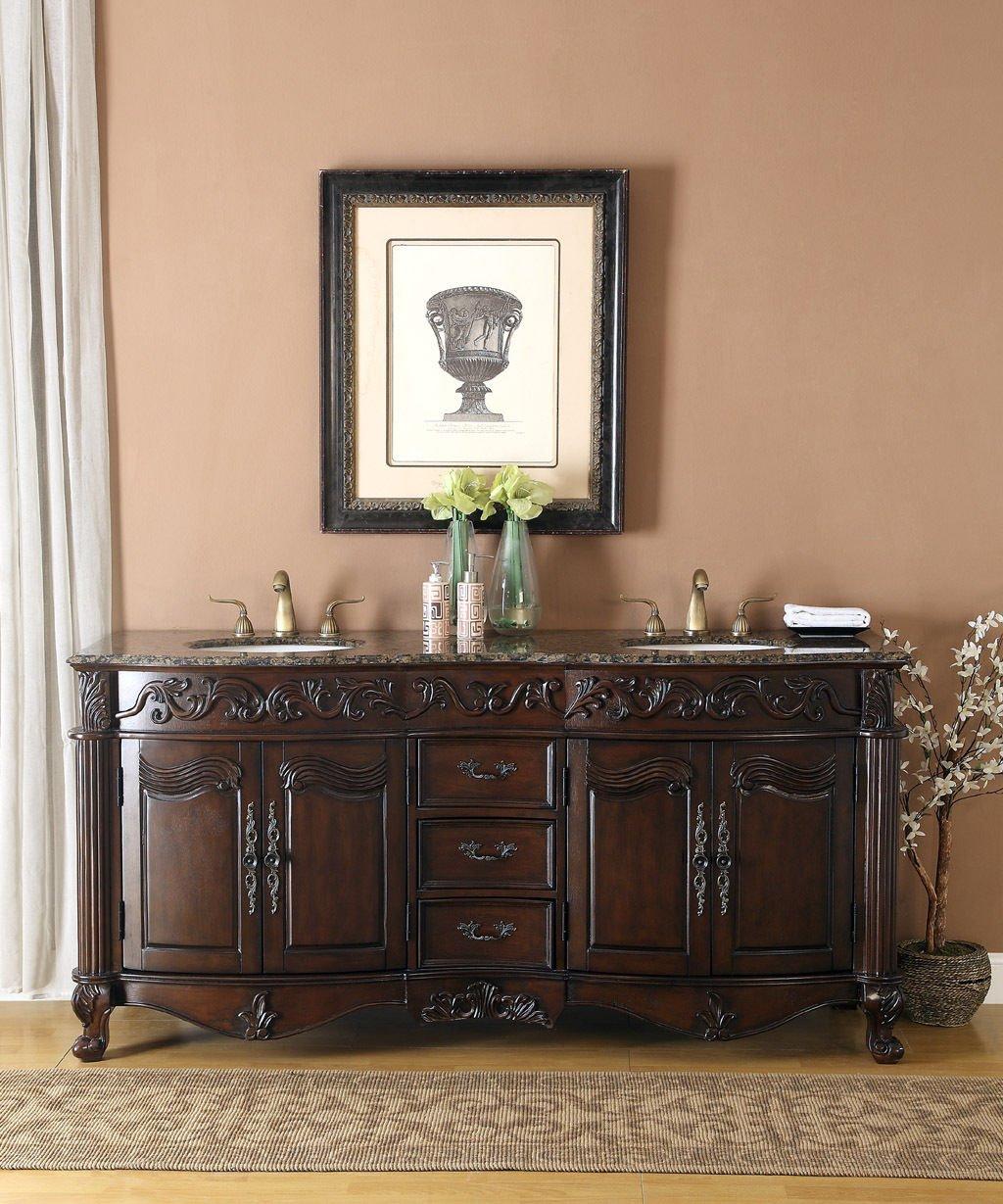 "low-cost 72"" Baltic Brown Granite Double Vanity Bathroom Sink Lavatory Cabinet"