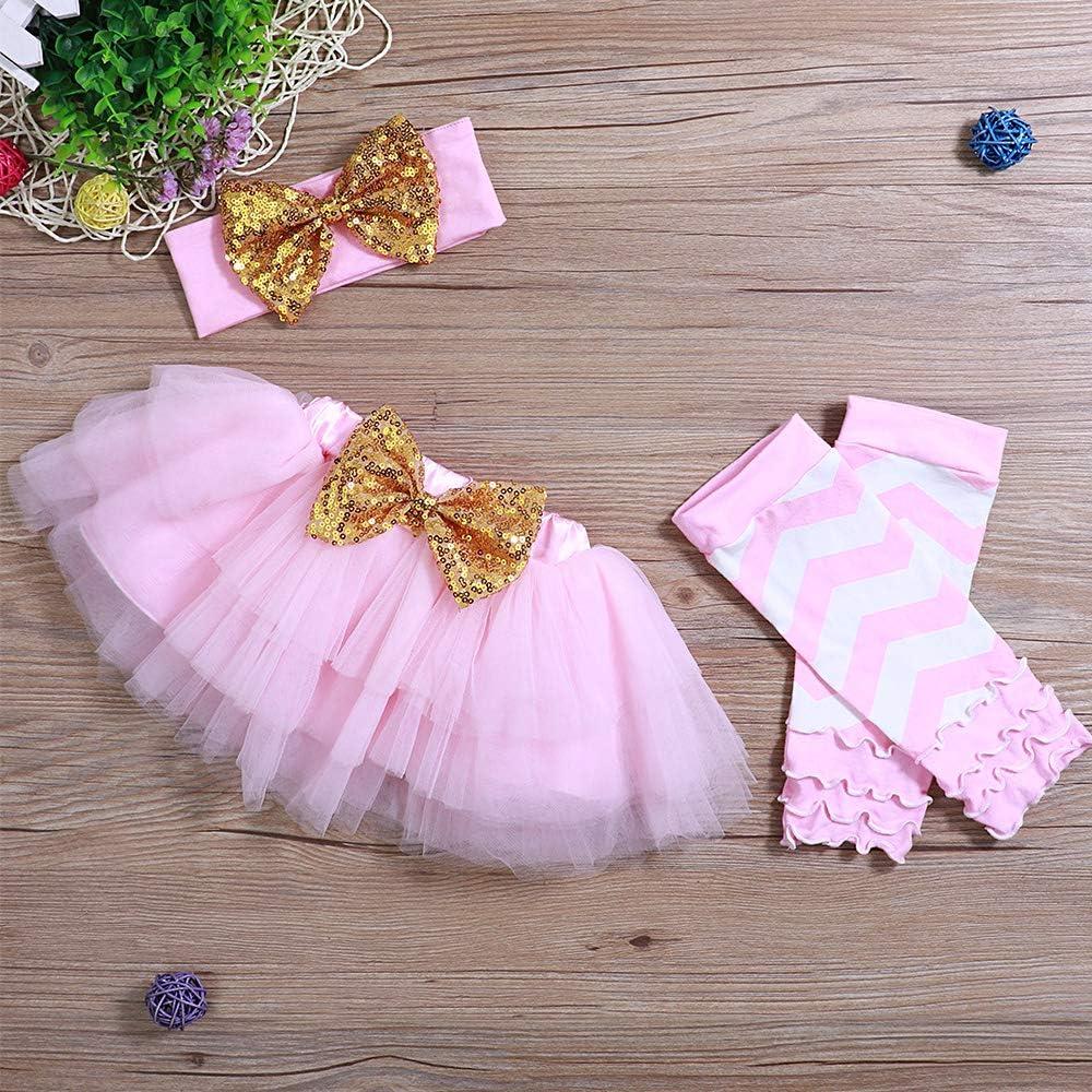 Yoveme Newborn Baby Girl Long Sleeve Clothes Mama Bodysuit Romper with Headband+Pink Tutu Skirt Clothes