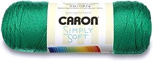 Caron Simply Soft Solids Yarn, 6oz, Gauge 4 Medium, 100% acrylic - Green - Machine Wash & Dry