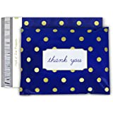 "Pack It Chic - 10"" X 13"" (100 Pack) Navy Polka Dot- Thank You Poly Mailer Envelope Plastic Custom Mailing & Shipping Bags - Self Seal (More Designs Available)"