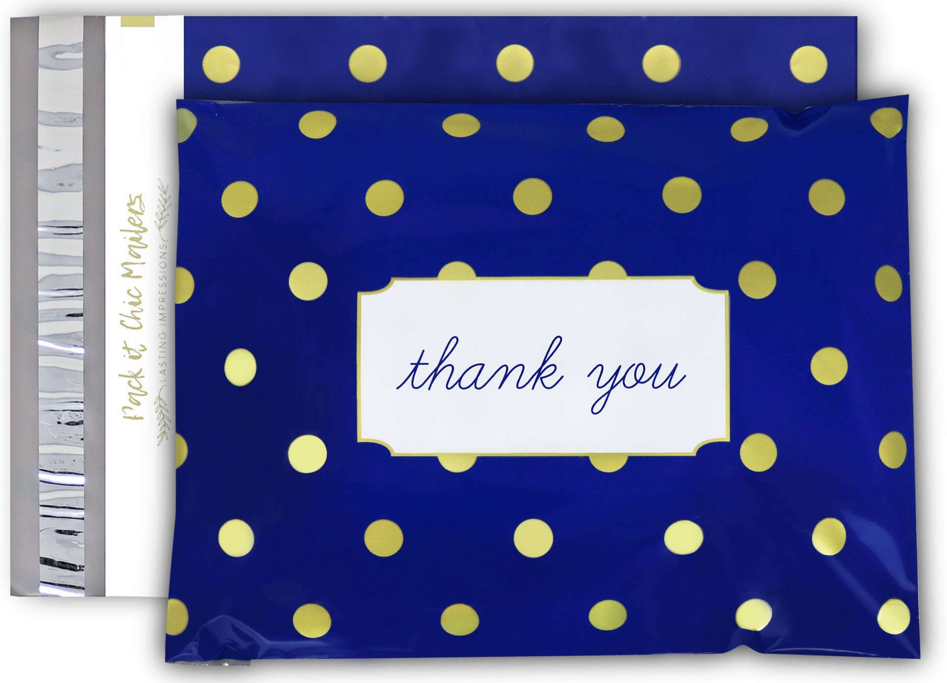 "[ 100-10"" X 13"" ] Navy Polka Dot - Thank You Design Custom Poly Mailer Envelope Shipping Bags, Tear Proof & Powerful Self Seal Adhesive Postal Bags (Other Designs Available) - Pack It Chic"