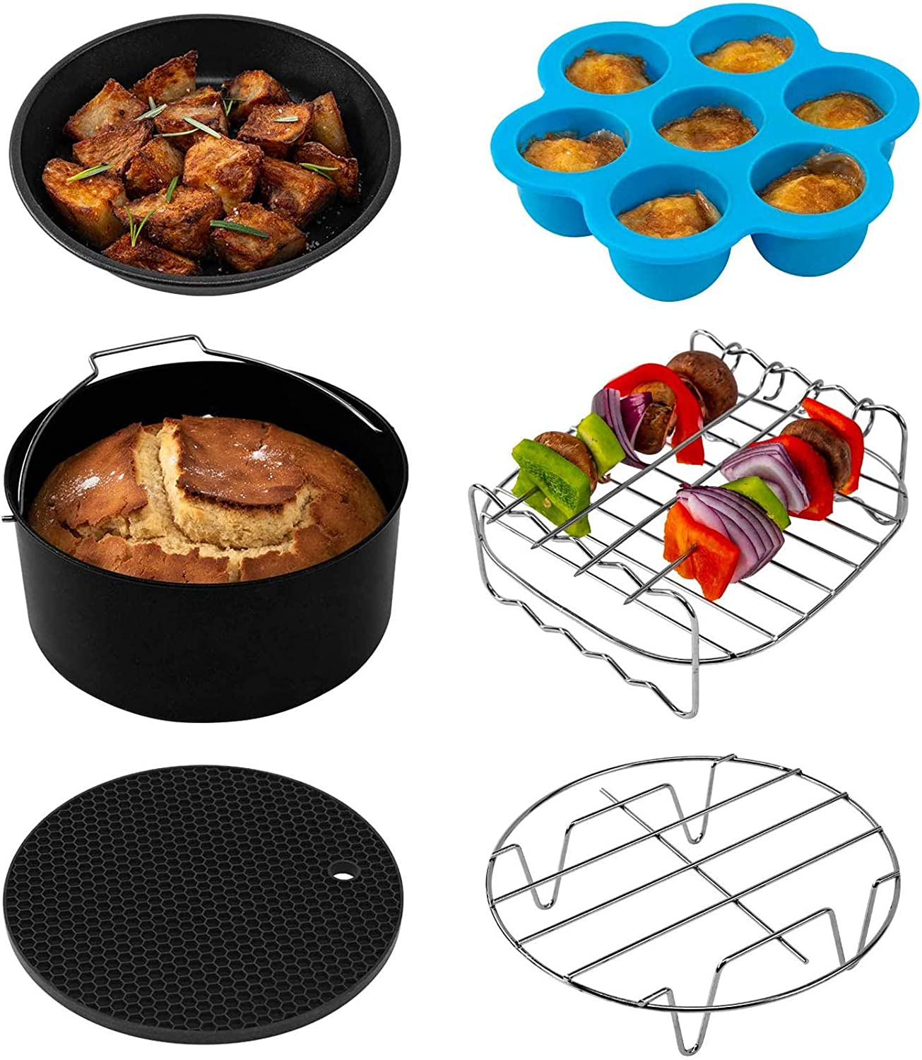 COSORI Set of 6 Fit all 3.7Qt, 4.2Qt Air Fryer, BPA Free, Dishwasher Safe, Nonstick Coating