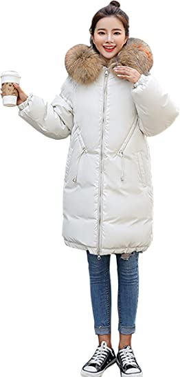 Korean Womens Fur Collar Hooded Parka Loose Fit Coat Winter Warm Jacket Outwear