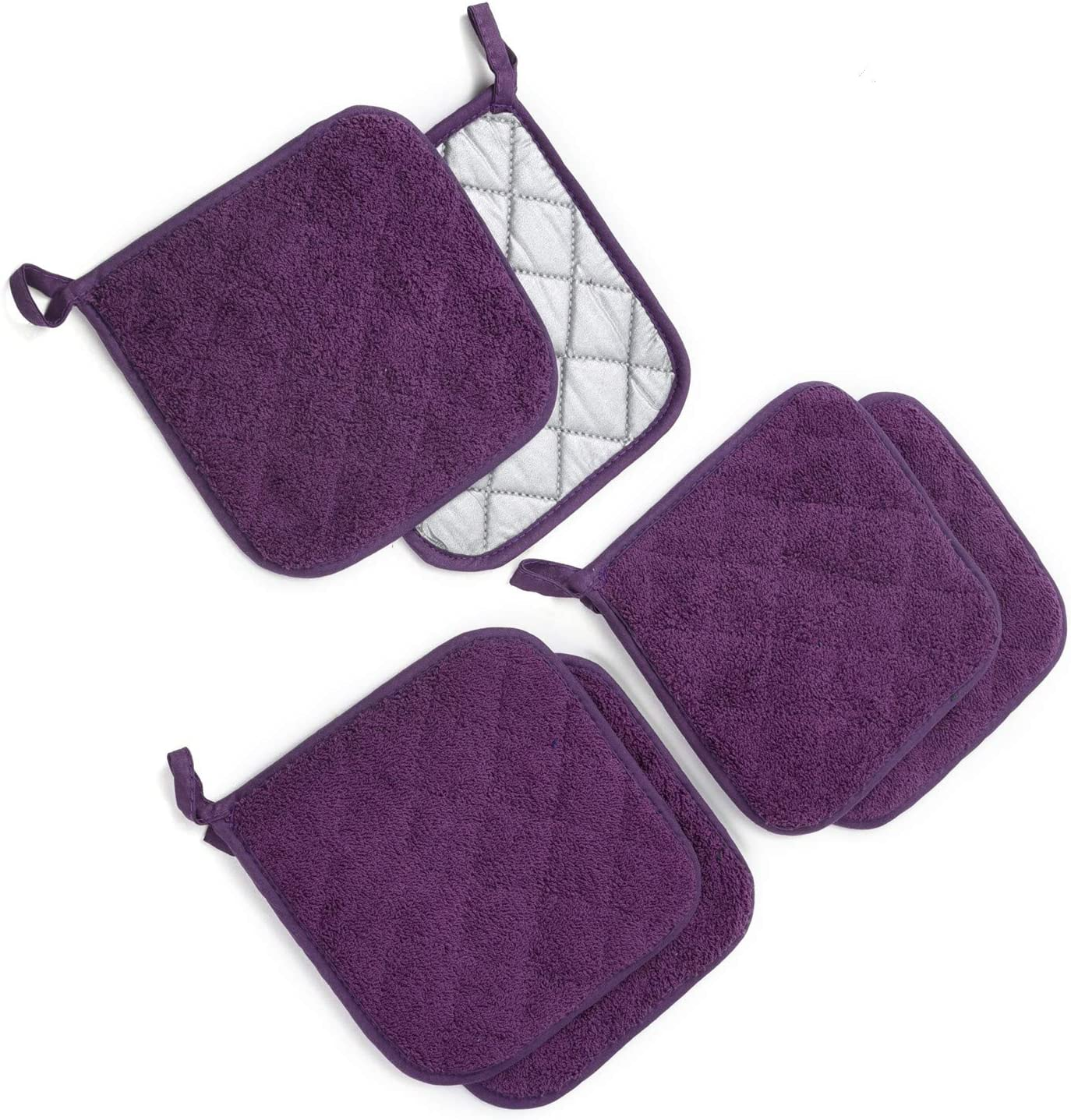 "Jennice House Potholders Set, 6 Pack of Heat Resistant Hot Mat Coasters Pure Cotton Kitchen Everyday Pot Holders, 7""X7"" for Cooking and Baking"