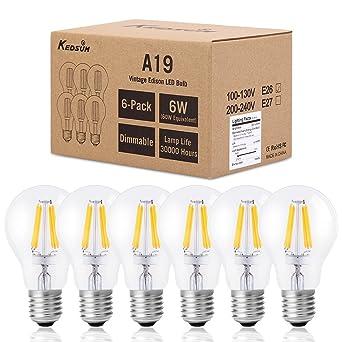 Kedsum - Paquete de 6 bombillas led retro de estilo Edison de intensidad regulable, 6 W, ...