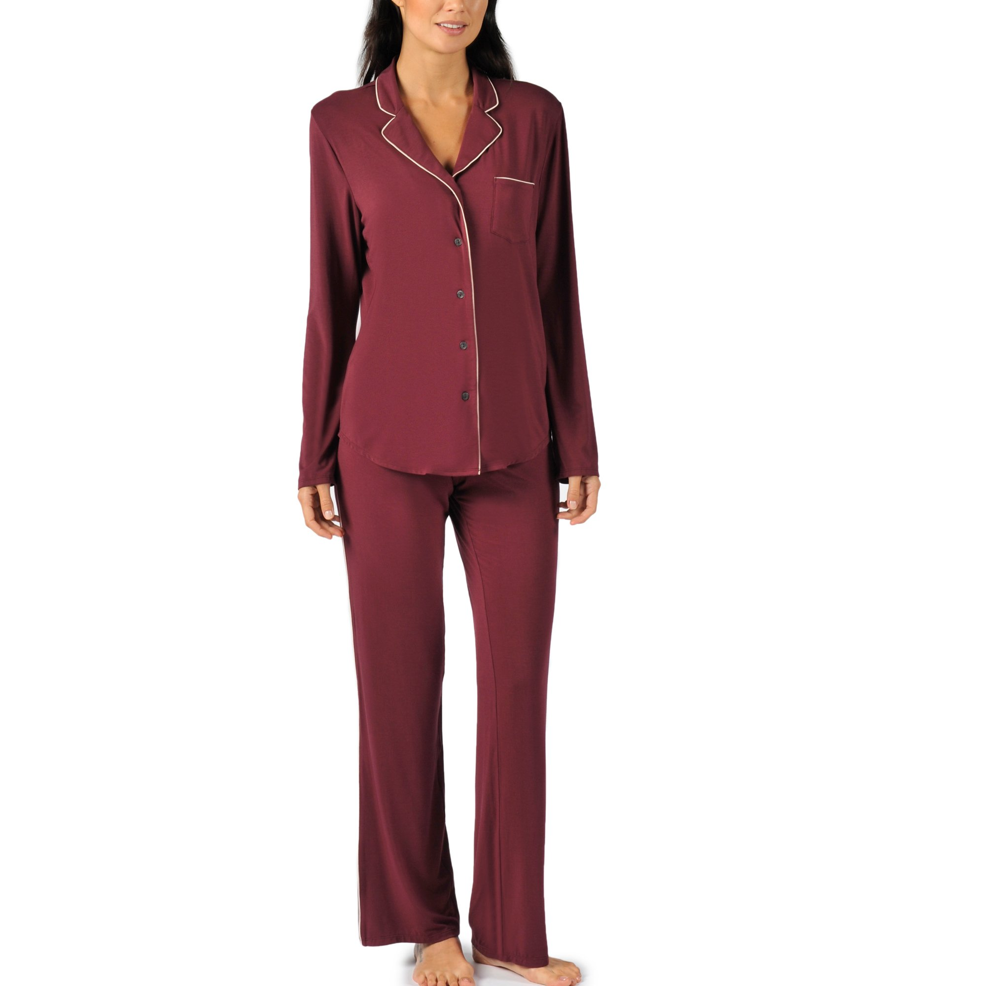 Naked Women's Micromodal Luxury Pajama Set - Sleepwear & Loungewear For Women - Wine Tasting, Large