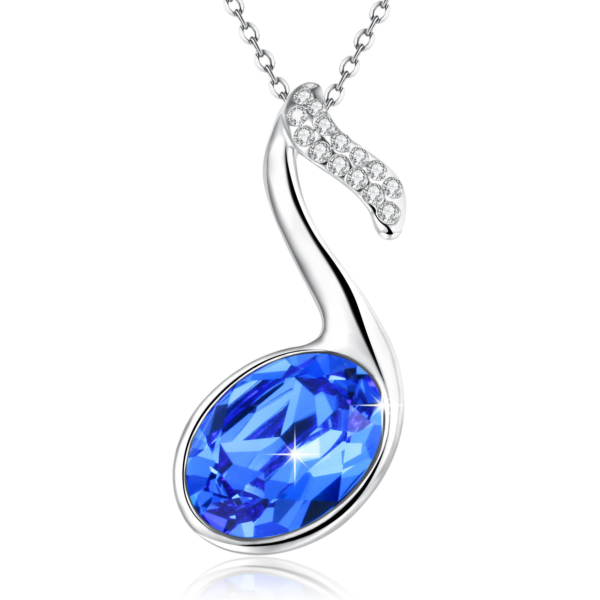 Angelady Angealdy Summer Waltz Music Note Pendant Necklace,Blue Crystal from Swarovski,Gift for women birthday