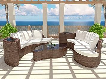 rattaninsel emmi braun 2 sofas tisch garnitur sitzecke sitzgruppe ... - Sitzgruppe Küche Günstig