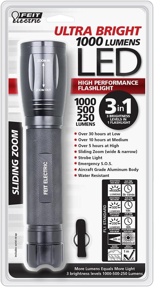 3 C Battery FEIT ULTRA BRIGHT LED Flashlight Slide Zoom 3-Settings 500 Lumens