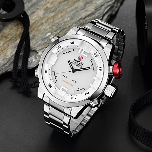 Amazon.com: ShoppeWatch Mens Big Face LED Watch Dual Time Date Day Sport Military Silver Tone Metal Band Quartz OH-153: Watches