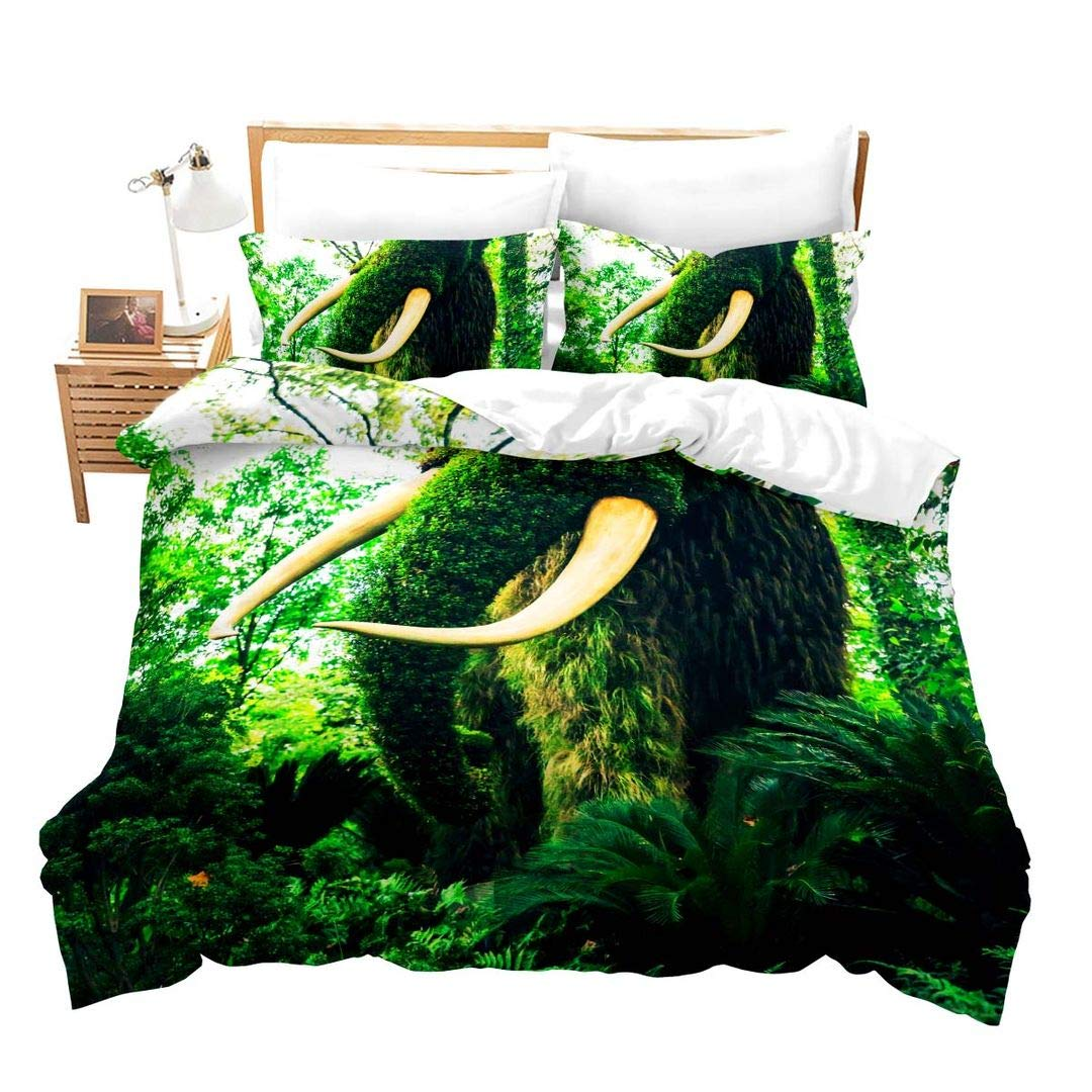 Erosebridal Elephant Duvet Cover Set Twin Kids Cartoon Bedding Sets Cute Red Elephant Pattern Comforter Cover Soft Microfiber Bedding 2 Pieces with 1 Pillow Case No Comforter