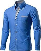 OnIn Men Shirts Shirts Mens Striped Patchwork Shirt Slim Fit Long Sleeve Men Shirt Slim Camisa