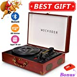 Wockoder Portable Bluetooth 3 Speed Turntable With Built In Stereo Speakers,  Vintage Style Vinyl Record