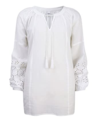 af9741fec Cotton Traders Womens Ladies Broderie Anglaise Blouse Notch Neck  Elasticated Cuffs Lightweight Casual Top: Amazon.co.uk: Clothing