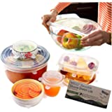 Silicone Stretch Lids 6 Pack (Clear) By A Thousand Trees | 6 Sizes Reusable, Expandable and Durable Lids to Keep Food Fresh | Leak Proof and Heat Resistant | Fit Various Sizes and Shapes of Containers | Food Grade Silicone, Eco-Friendly and BPA-FREE | Container Lids, Container Covers and Bowl Covers