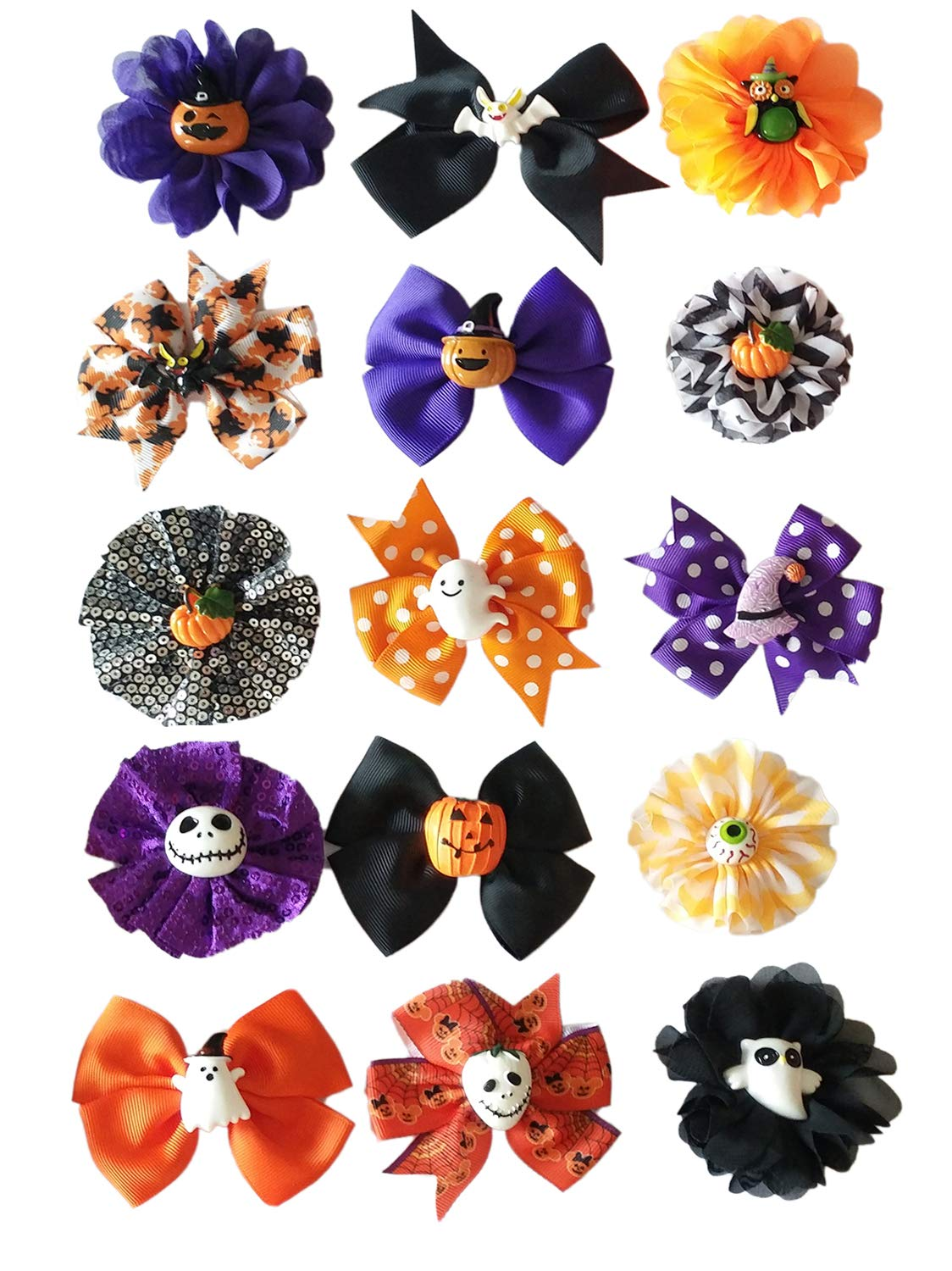 PET SHOW Pack of 100 Halloween Dog Collar Charms Flower Bows Bowties Accessories for Cat Puppy Collars Attachment Small Dogs Grooming by PET SHOW